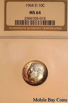 Sweet Toned 1964-D Roosevelt Silver Dime - Mint State 64 (2506705-015)