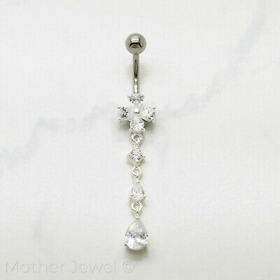 925 Sterling Silver Clear Flower Tear Drop Cz 316L Surgical Steel Belly Bar Ring