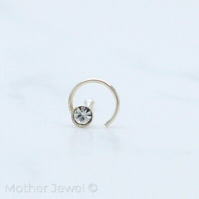 Real Solid Sterling Silver Simulated Diamond Swirl Nose Stud Ball Bone Pin End