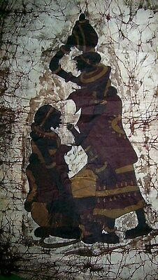 Vintage FABRIC WALL HANGING Mother and Child from AFRICA Deep Rich Colors UNIQUE