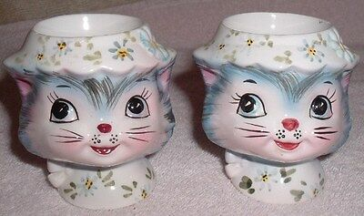 Pair Lefton Miss Priss Cat Egg Cup/Holder Rare 1510 Vintage