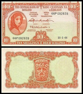 Bank of Central Ireland - 10 Shillings Note 25th May 1966 - EF Serial 66P092839