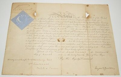 Genuine Signed / Autographed 1881 Officer Commission document by Queen Victoria