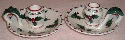 Lefton Holly Berry Candy Cane Pair Candle Holders 033