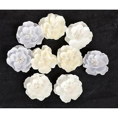 PRIMA Frost ~Snow Drop Roses~ Paper Flowers 565756