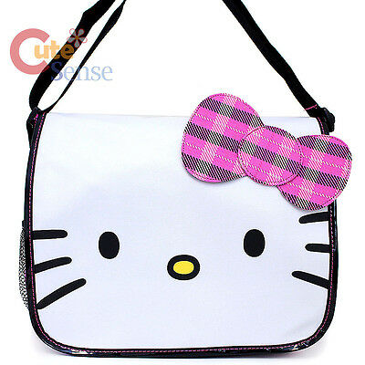 Sanrio Hello kitty Face School Messenger Bag with Checkered Pink Bow