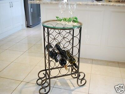 Handmade Iron Elegant Bottle Wine Rack Storage Console Table Round Glass Top 001