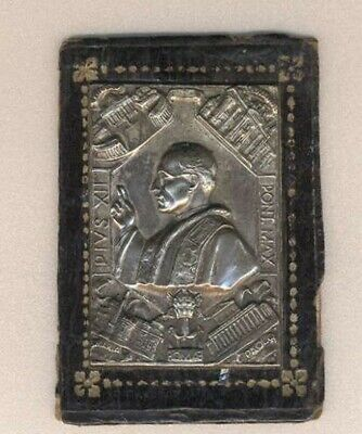 Metal Plaque Religious Christianity Pope Pius XII On Leather