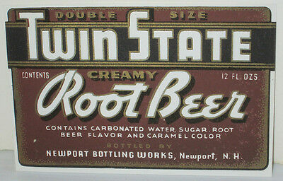 Twin State Creamy Root Beer Vintage Soda Bottle Label Unused 12 Ounce Size