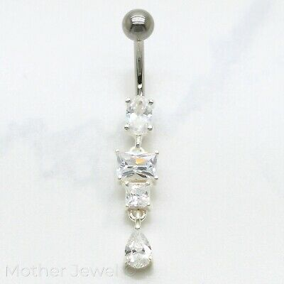Beautiful 925 Sterling Silver Dangle Clear Cz 316L Surgical Steel Belly Bar Ring