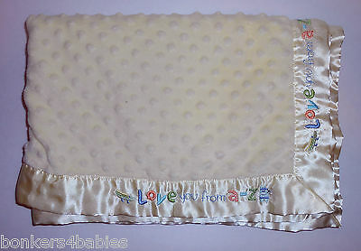 RARE Carter's Just One Year YELLOW Minky Dot LOVE You From A To Z Baby Blanket
