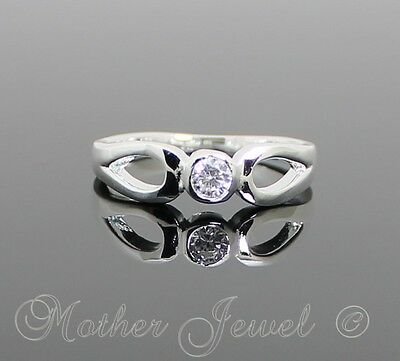 Sterling Silver Filled Designer Simulated Diamond Engagement Ladies Girls Ring
