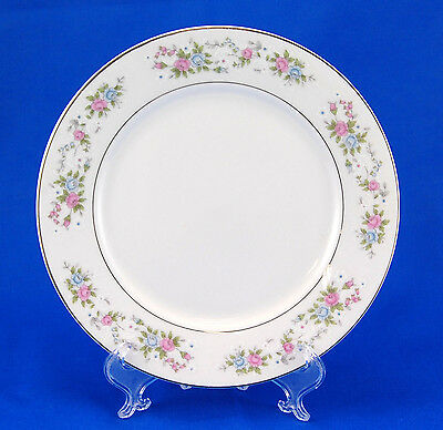 Sango CANNES 8078 Salad Plate 7.5 in. China Pink Blue Flowers Platinum Trim
