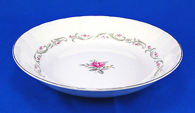 Fine China of Japan ROYAL SWIRL 109 Coupe Soup Bowl 7.625 in. Pink Rose Scrolls