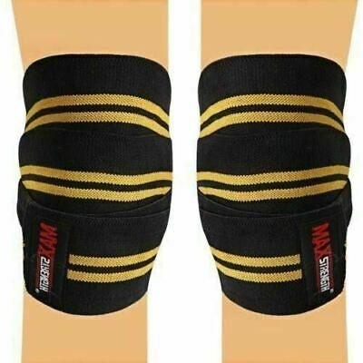 "Knee Wraps Weight Lifting Bandage Straps Guard Pads Powerlifting 84"" Pair Sport"