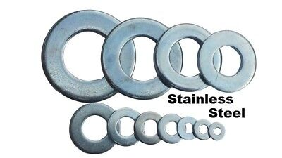 """100 qty 1/4"""" Stainless Steel Flat Washers (18-8 Stainless)"""