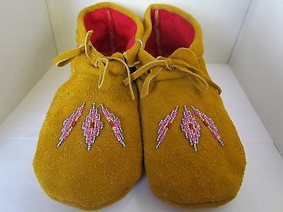 Authentic Native American Beaded Moccasins 10 Inches High Ankle Pink/silver Wow