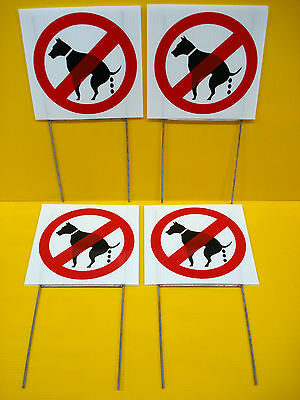 """(4) NO DOG POOP Coroplast Signs with Stakes 8""""x8"""" New White"""