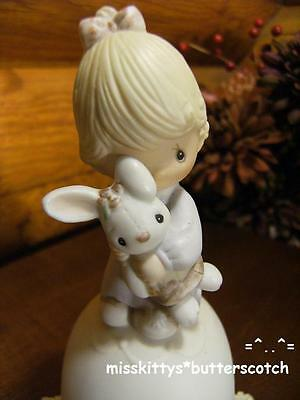 Precious Moments~BELL~Jesus Loves Me~No Mark~E5209~Girl Holding Her Bunny Rabbit