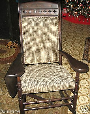 Antique drop-leaf arm rocking chair ~1890 Professionally restored recently