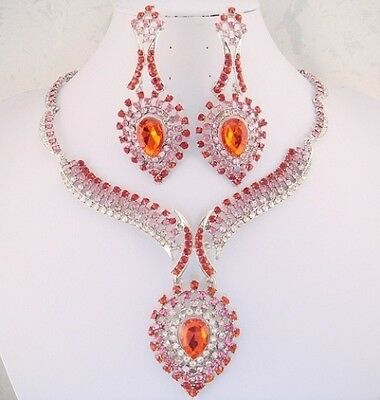 """silver necklace set red pink crystal vintage style 3.2"""" dangle earring bold FIOJ"""