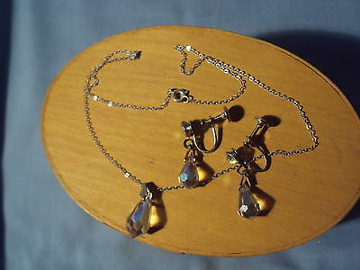 vintage STERLING SILVER Screwback EARRINGS and NECKLACE Rhinestones Crystals