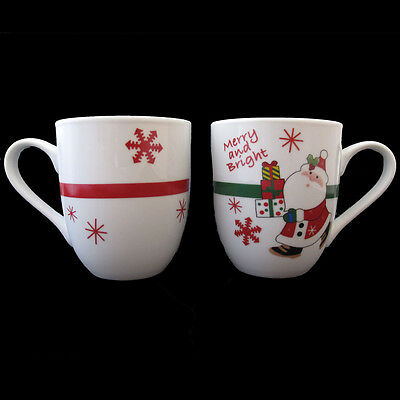 FITZ AND FLOYD CHRISTMAS MUGS MERRY AND BRIGHT TWO MUGS NEW IN ORIGINAL BOX