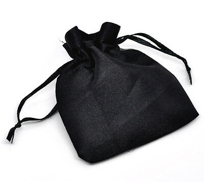 5 x Black Satin Gift Favour Bags 90mm x 70mm (9cm x 7cm) Crystals Pouch B59