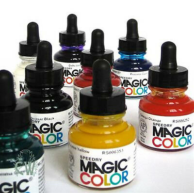 Magic Color Liquid Acrylic Ink Colour 28ml. Single Colours. Artists Drawing Ink.