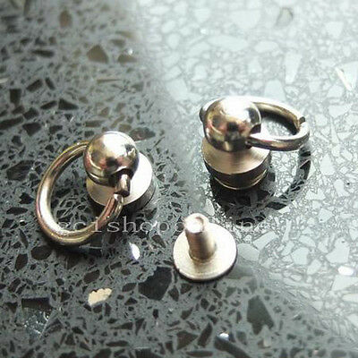 """5 10 20 50 Head Button Studs Screwback Leather bag spot O ring 6mm 1/4"""" Brass Si"""