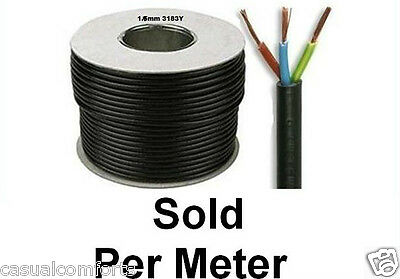 3183Y 3 CORE ROUND MAINS FLEXIBLE BLACK CABLE,PVC INSULATION,3 x 1MM² LEAD/ WIRE