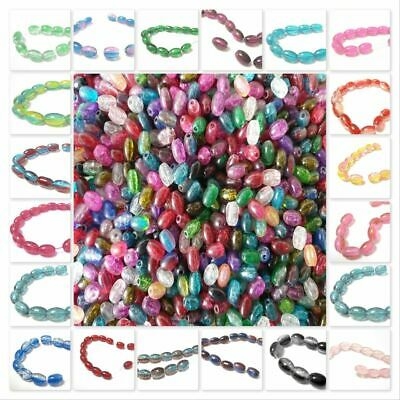 BUY 3 GET 3 FREE 30 Pcs or by Strand 8x11mm  Oval Crackle Coloured Glass Beads