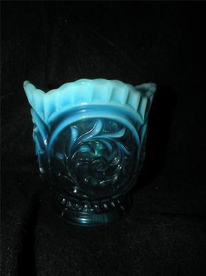 ANTIQUE EAPG DUGAN CIRCLE CIRCLED SCROLL BLUE OPALESCENT GLASS SPOONER