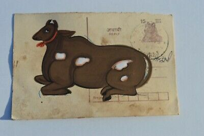 A Lovely Old Rajasthan Miniature Painted Indian Postcard Of Nandi / Cow No31