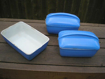 Lot Of 3 Vintage Hall China Westinghouse Blue Refrigerator Dishes