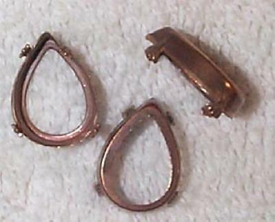 Vintage 1930'S Patina Pear Shape Brass Claw Settings   18 Pcs