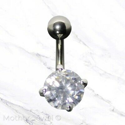 14G Real Solid 925 Sterling Silver Round Cz 316L Ss Banana Belly Navel Ring Bar