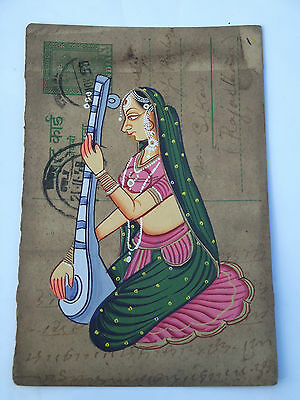 A LOVELY OLD RAJASTHAN MINIATURE PAINTED INDIAN POSTCARD OF A INDIAN WOMAN .no 2