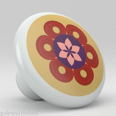 Cute Retro Brown Flower Ceramic knob Pull Kitchen Closet Drawer Handle 1971