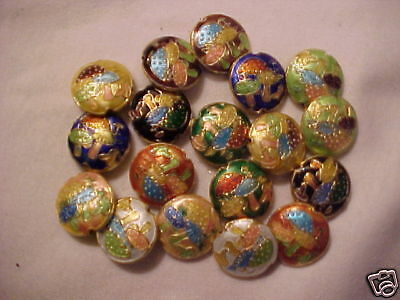 18 Mixed 17mm Cloisonne Toadstool Beads.   CP4m