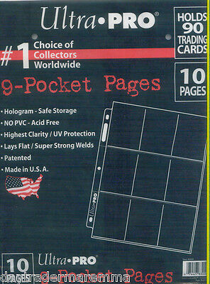**Special*Ultra pro 9 pocket pages x 10 pack