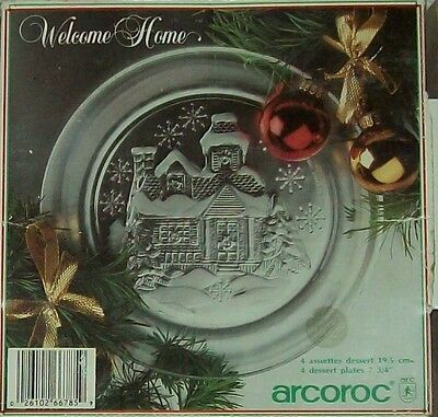 Arcoroc Set of 4 Welcome Home Christmas Dessert Plates - New Old Stock