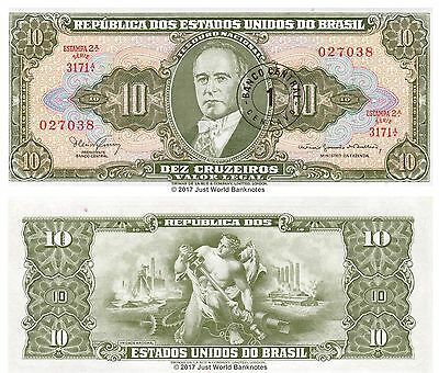 Brazil 1 Centvo on 10 Cruzeiros 1967 P-183b Mint UNC Uncirculated Banknotes