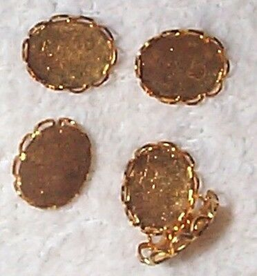 Vintage Brass Scalloped Edge Mountings Settings Nice  14 Pcs For Your Designs