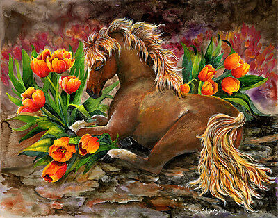 RIVER DANCE TWO 8x10   HORSE Print from Artist Sherry Shipley