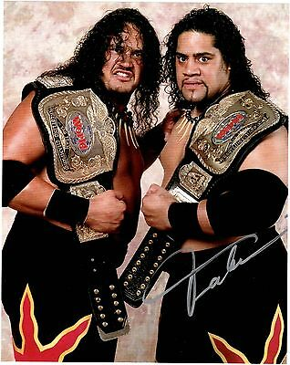 "WWE RIKISHI AUTOGRAPHED ""THE HEADSHRINKERS"" 8X10"