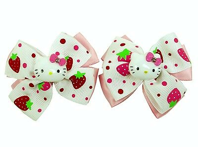New SANRIO HELLO KITTY Cute Strawberry white-pink double Bow Hair Clips (2 pcs)