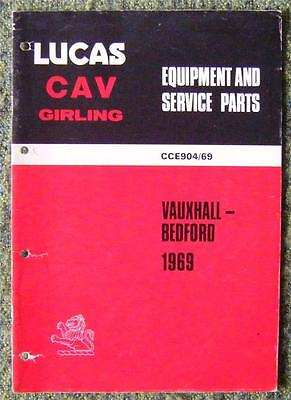 Lucas Cav Girling - Vauxhall/ Bedford Spare Parts List 1969 Ref- Cce904/69