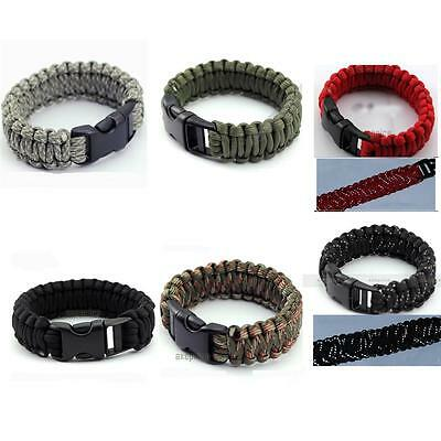 Tightly braided Paracord Survival Bracelets Kit 550 Rope Smooth Buckle No-burr