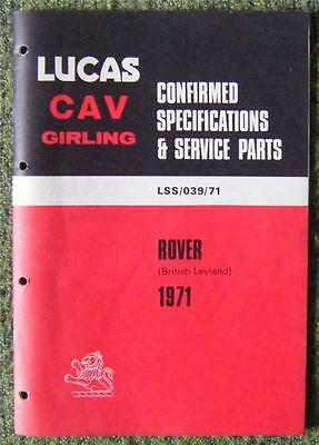 Lucas Cav Girling - Rover Spare Parts List 1971 Ref- Lss/039/71